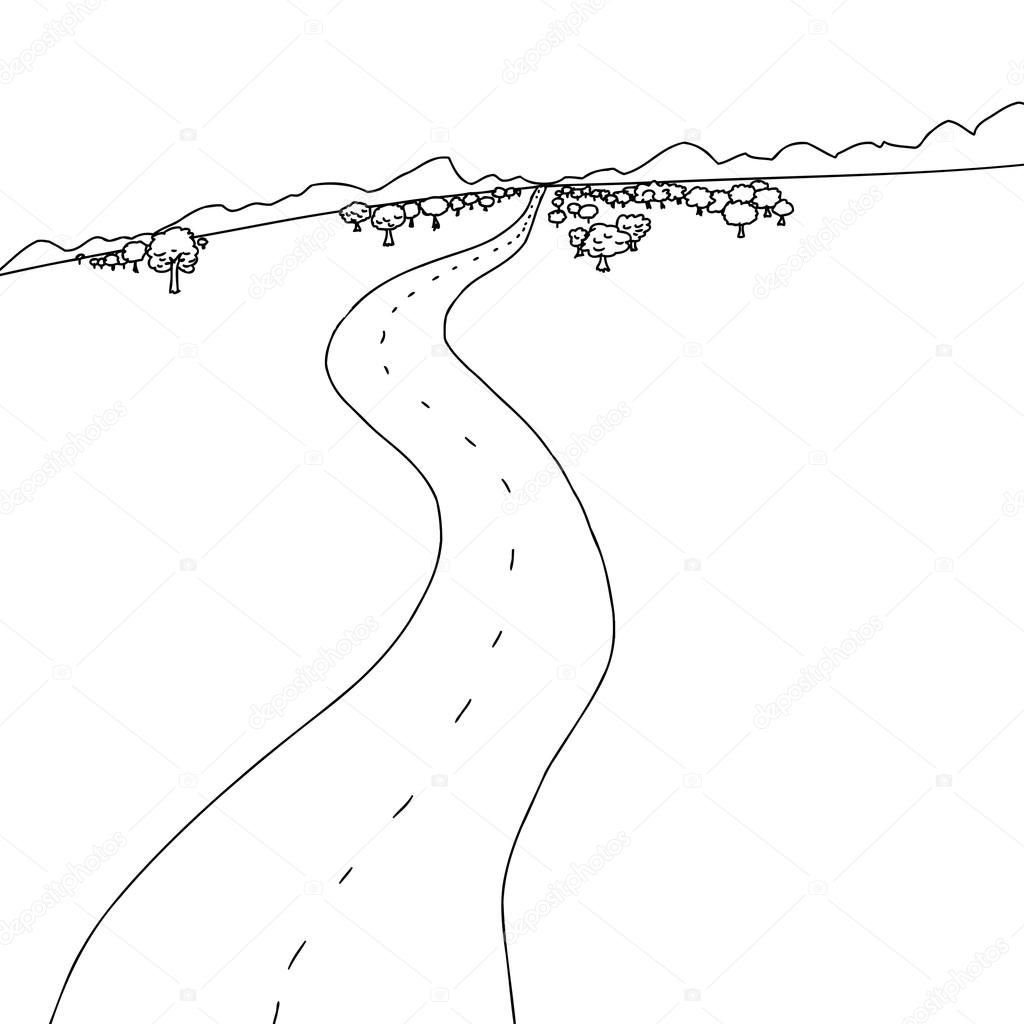 outline of road to mountains u2014 stock vector theblackrhino 69360363