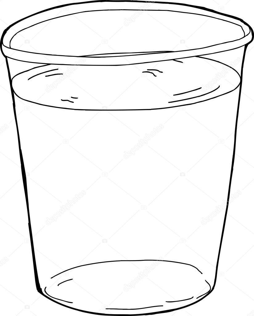 Geschetst Van Plastic Beker Van Water Stockvector Theblackrhino