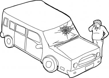 Outline of Man and Damaged Vehicle