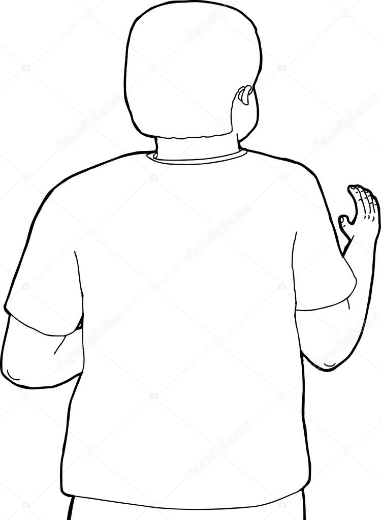 Rear View Outline Of Reaching Person Stock Vector