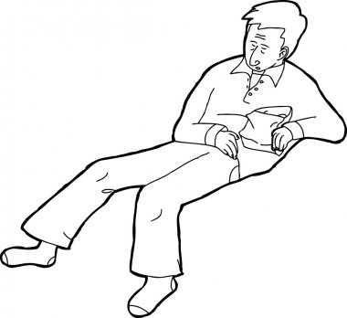 Outlined Sleeping Person with Snack