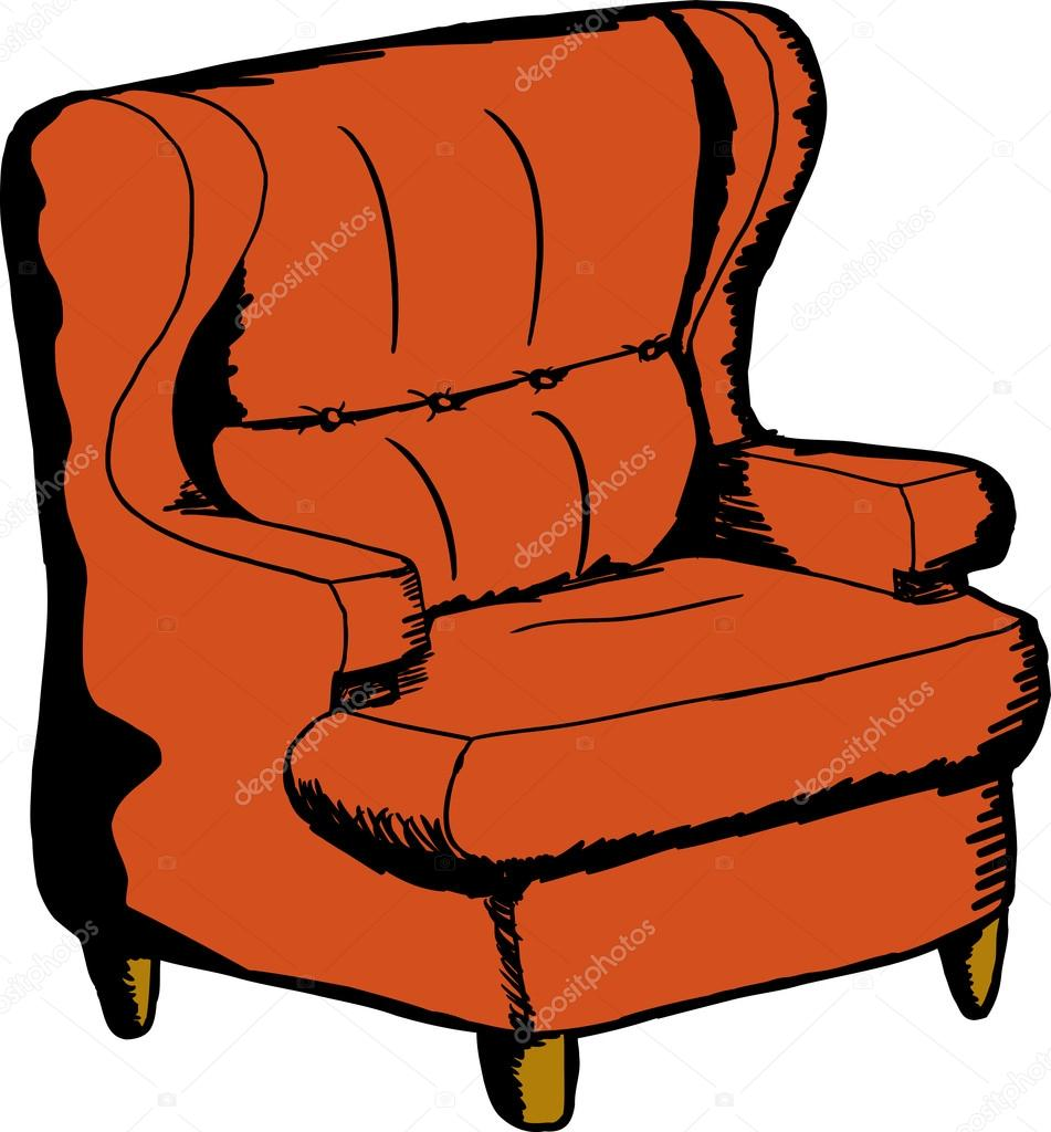 Orange Sofa Chair Stock Vector