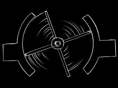 Outlined Turnstile Over Black