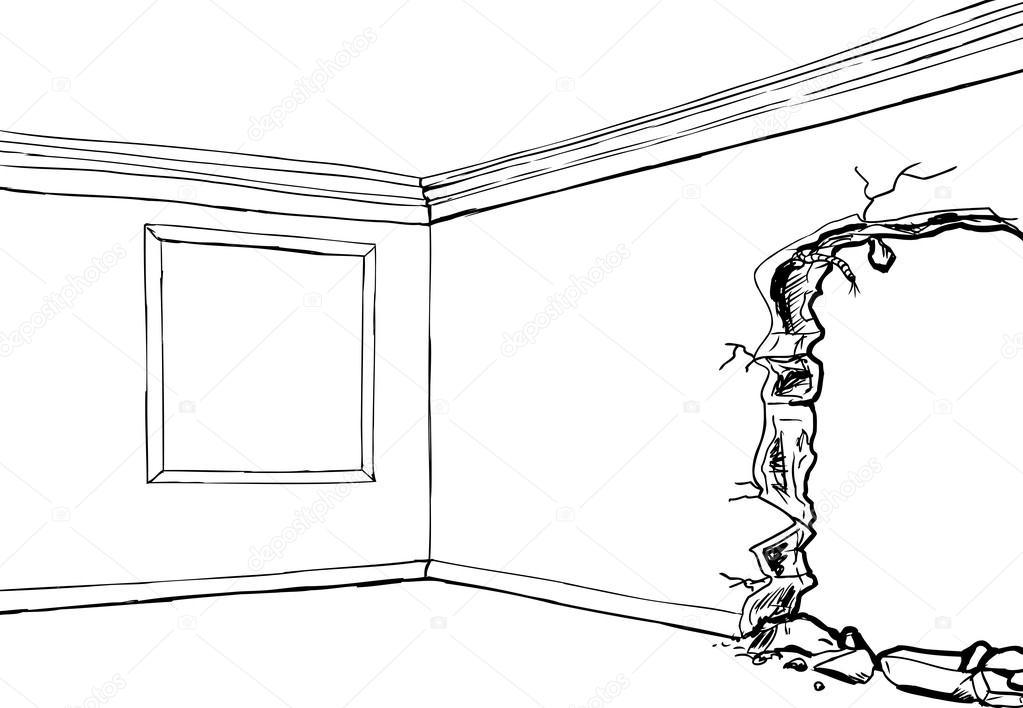 Hole in wall with frame outline — Stock Vector © theblackrhino #96559950