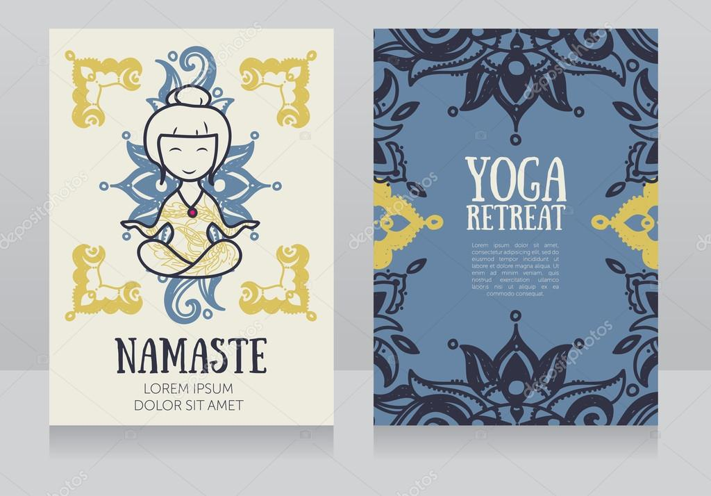plantilla de tarjetas para retiro de yoga o yoga studio — Archivo ...
