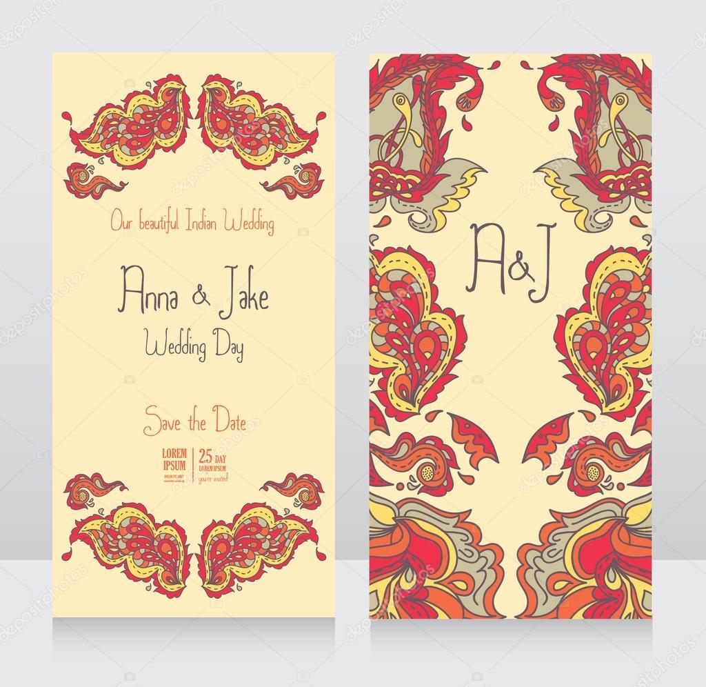 Plantillas para invitación de boda en estilo indio — Archivo ...