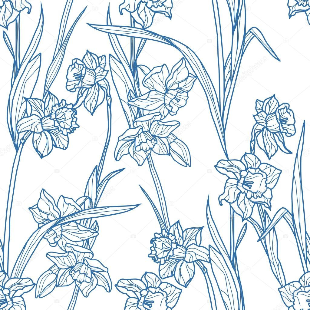 Seamless pattern with beautiful  narcissus flowers