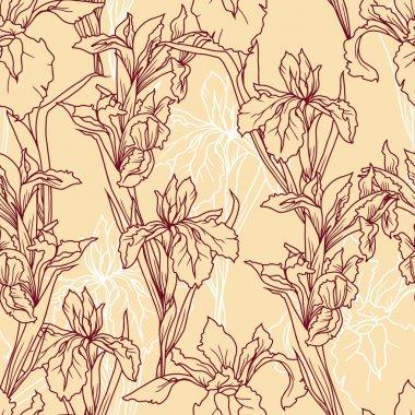 Seamless pattern with beautiful irises flowers