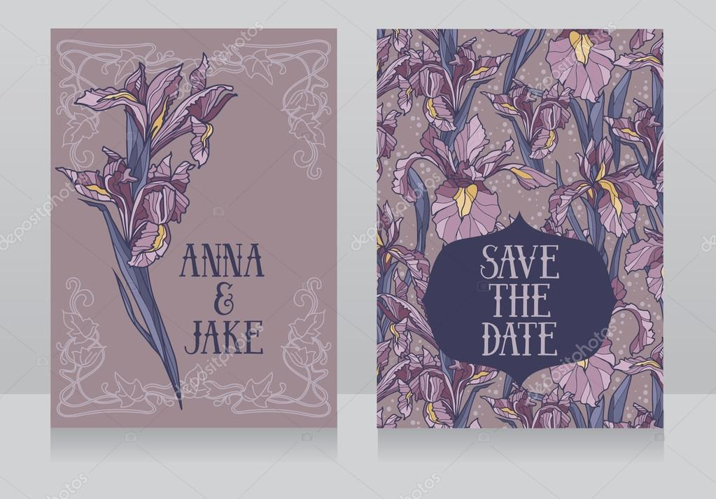 Beautiful floral wedding cards in art deco retro style with irises flowers