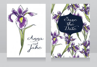 Beautiful floral wedding cards with watercolor irises flowers