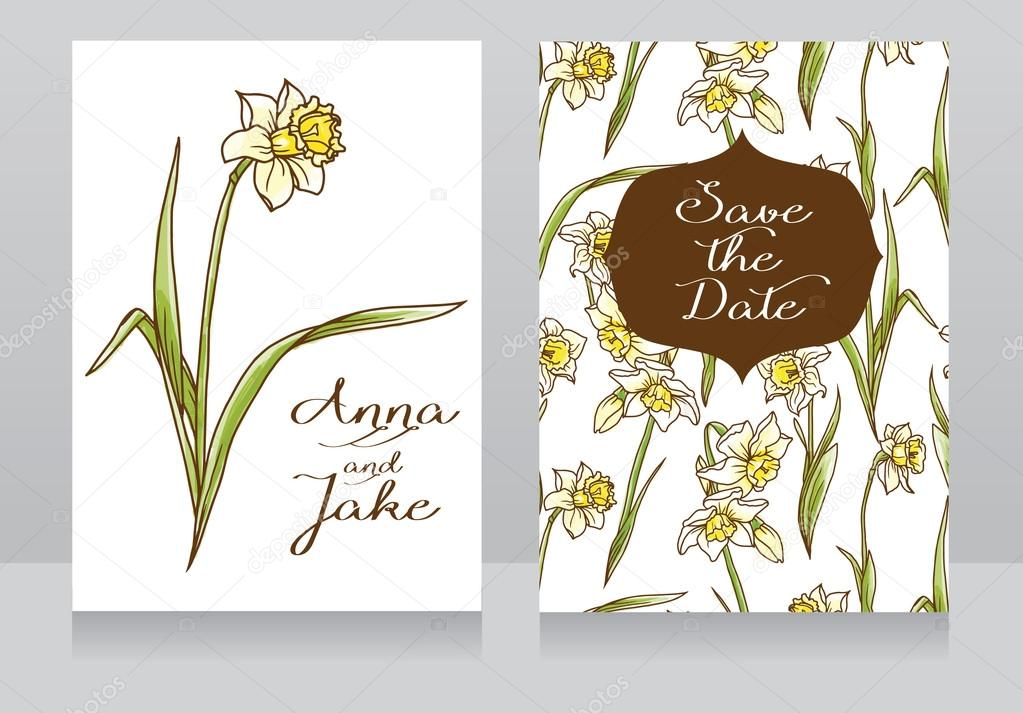 Beautiful floral wedding cards with watercolor narcissus flowers