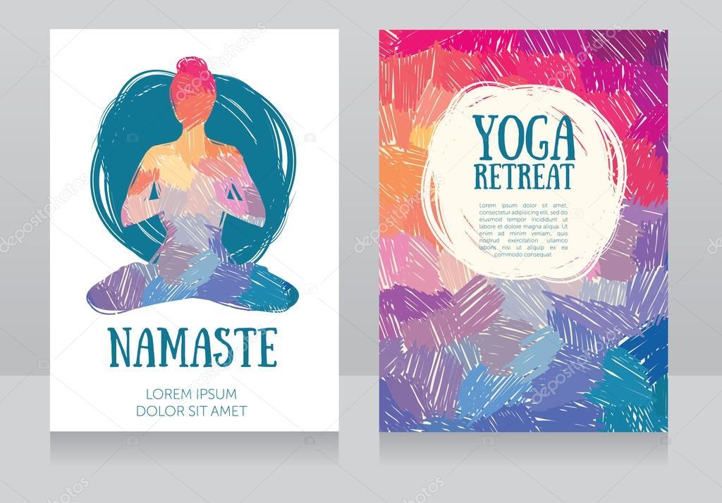 plantilla de tarjetas artísticas para retiro de yoga o estudio de ...