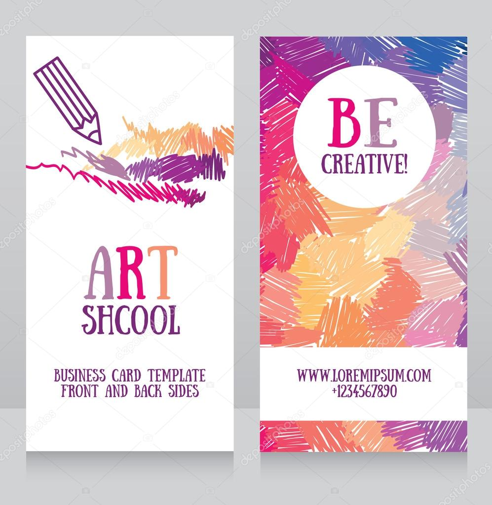 business cards template for art school — Stock Vector © ghouliirina ...
