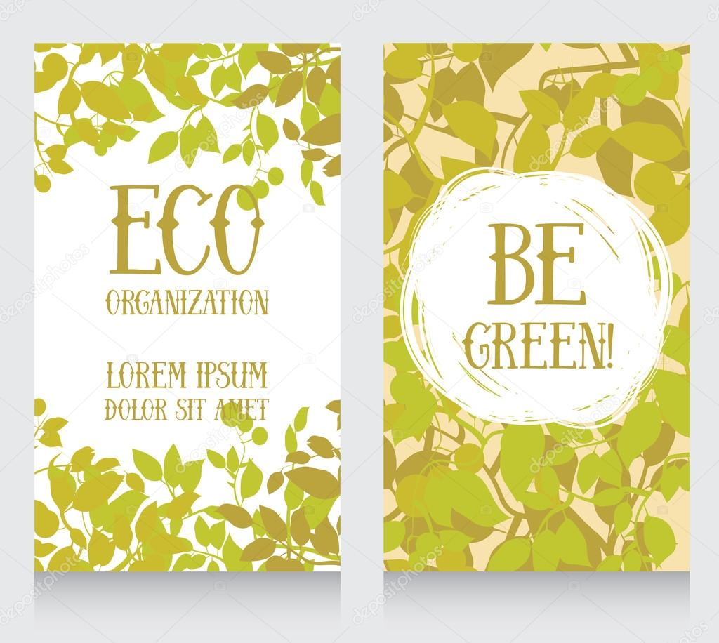 business card template with leaves decor for ecology organization ...