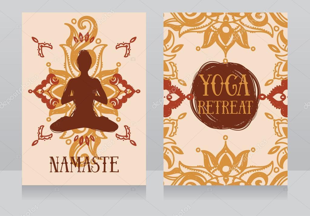 plantilla de tarjetas para retiro de yoga o yoga studio — Vector de ...
