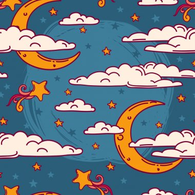 Colorful seamless background for sweet dreams with doodle moons and clouds