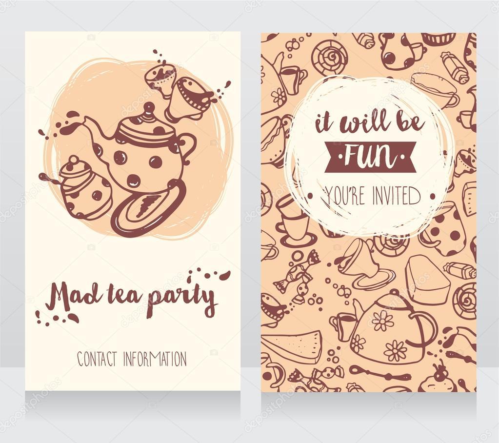 Carte Dinvitation Pour Tea Party Ou Mignons Cartes De Visite Salon The Illustration Stock