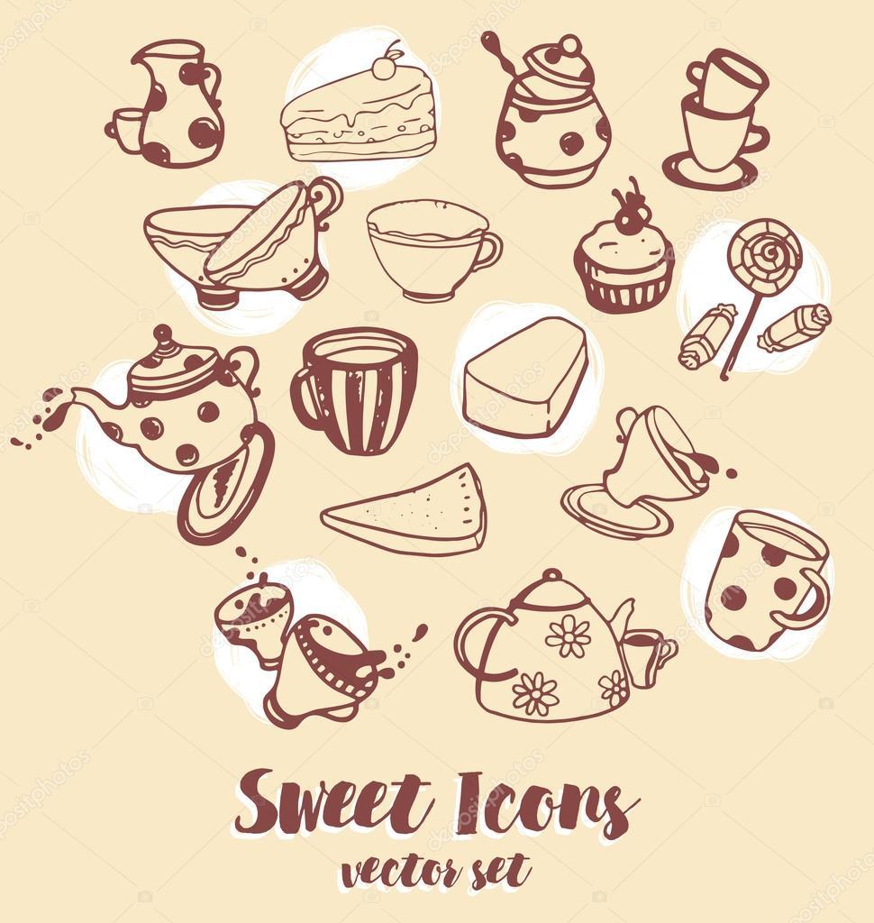 icons of cute tea things stock vector c ghouliirina 115849144 https depositphotos com 115849144 stock illustration icons of cute tea things html