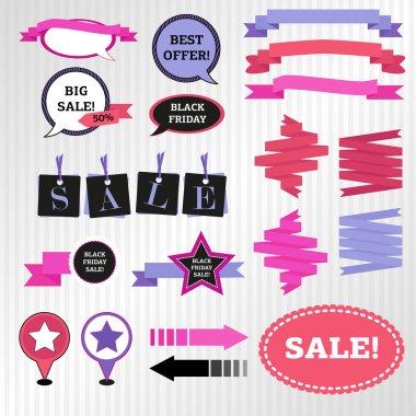 Set of design elements for black friday sale