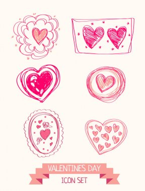 Set of doodle heart icons for valentines day, vector illustration stock vector