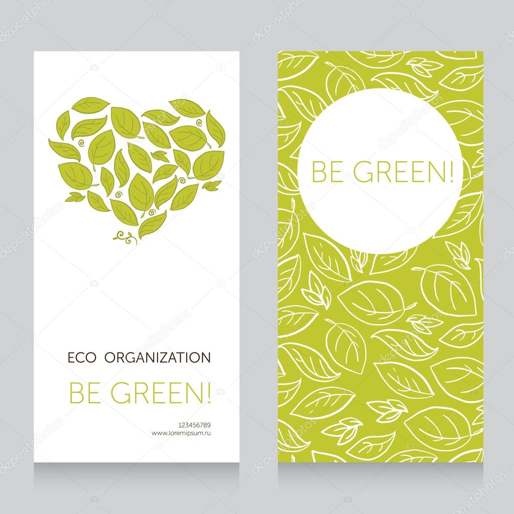 Ecology business card template with heart formed leaves
