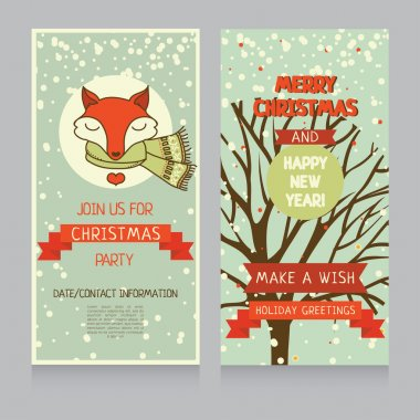 Lovely fox on banner for christmas party
