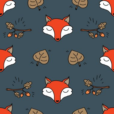 Seamless texture with cute fox and oak branch