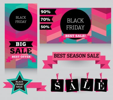 Set of design template for black friday sale