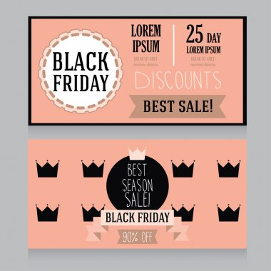 Template for black friday banner in retro style