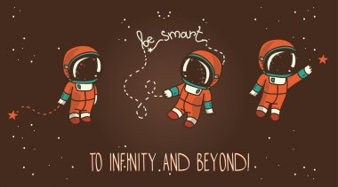 Three cute hand drawn astronauts with stars