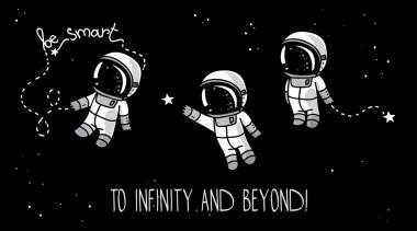 Three cute hand drawn astronauts with stars