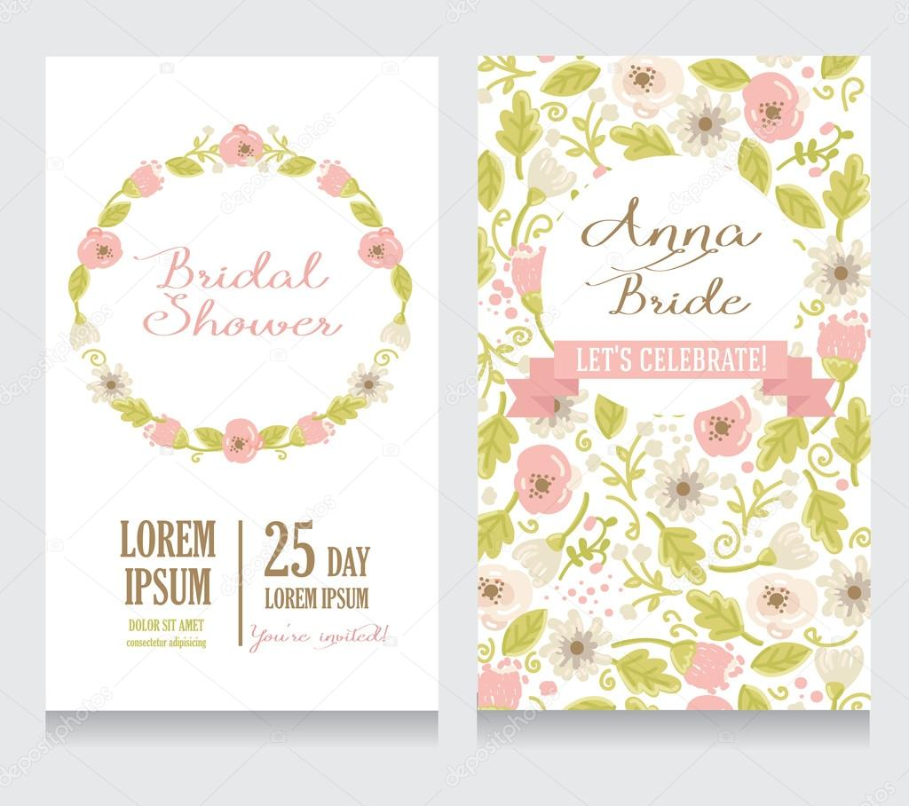 Bridal Shower invitation card, beautiful floral design, vector illustration — Vector by ghouliirina