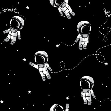 Cute doodle astronauts floating in space