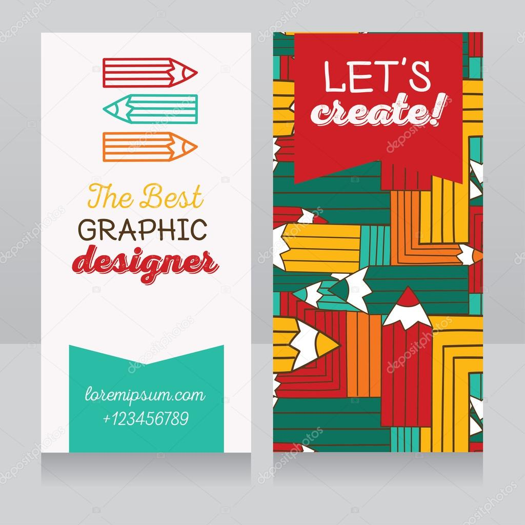 Business Card Template For Graphic Designer Or Art Therapist Classes Vector Illustration Vecteur Par Ghouliirina