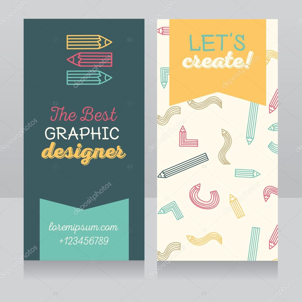 Business card template for graphic designer — Stock Vector ...