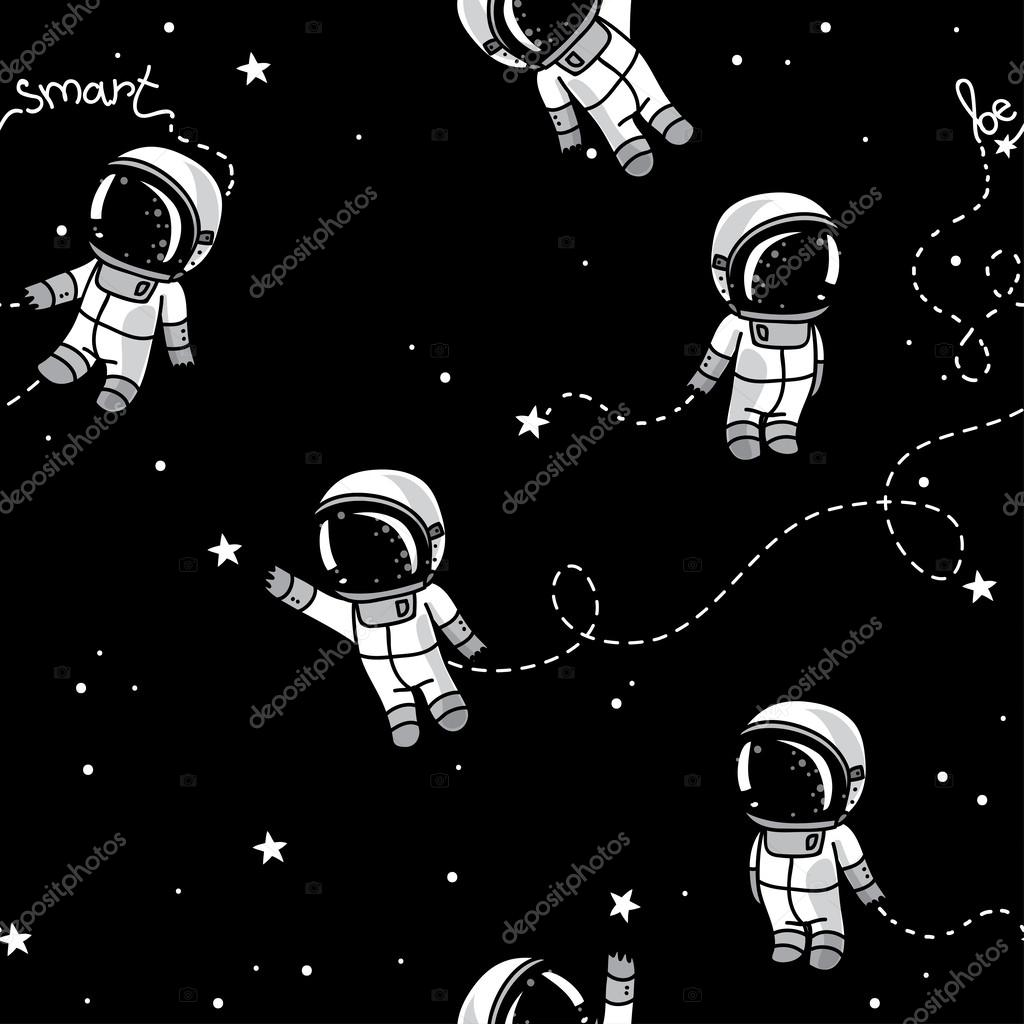 Cute Doodle Astronauts Floating In Space Stock Vector