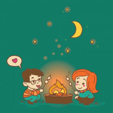 Cartoon boy and girl cooking a marshmallow, cozy hand drawn vector illustration