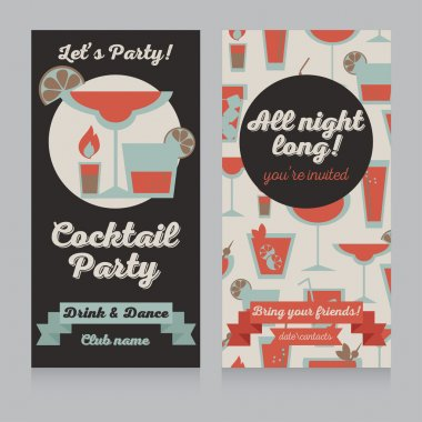 Template for cocktail party in retro style