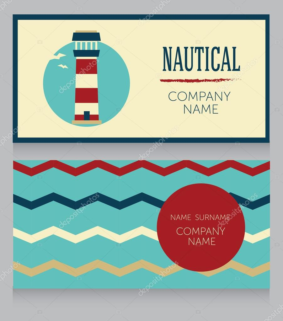 Business card template in nautical style — Stock Vector ...