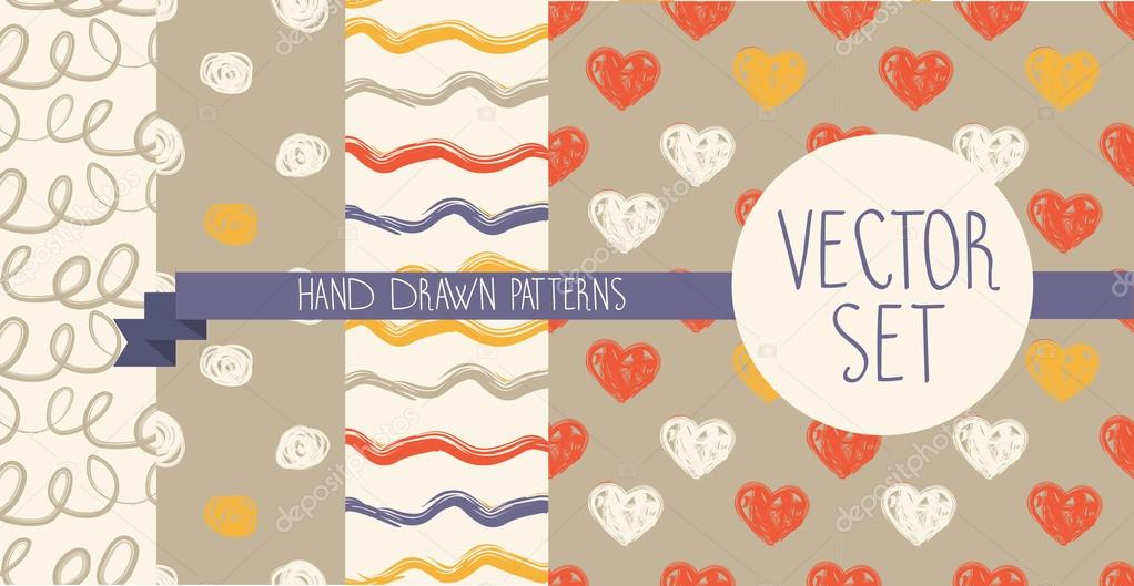 Set of abstract vector seamless patterns