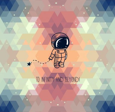 Cute hand drawn astronaut on abstract geometric background