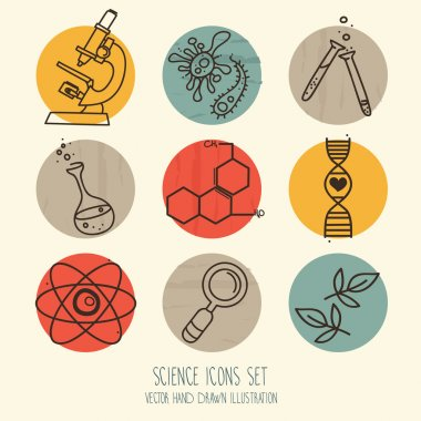 Set of  science icons in hand drawn doodle style