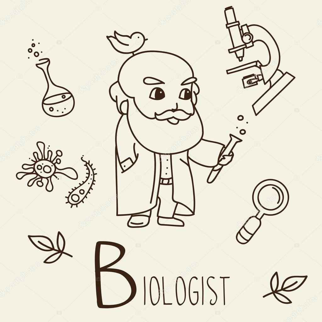 Imágenes Un Biologo Para Colorear Conjunto De Iconos De La Doodle