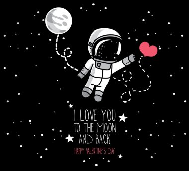 Cute doodle astronaut and heart, cosmic card for valentine's day