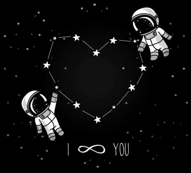 Cute doodle astronauts couple and heart formed constellation