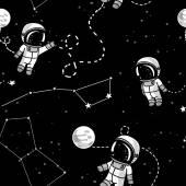 Kosmické bezešvé pattern, roztomilý doodle astronauti plovoucí v prostoru