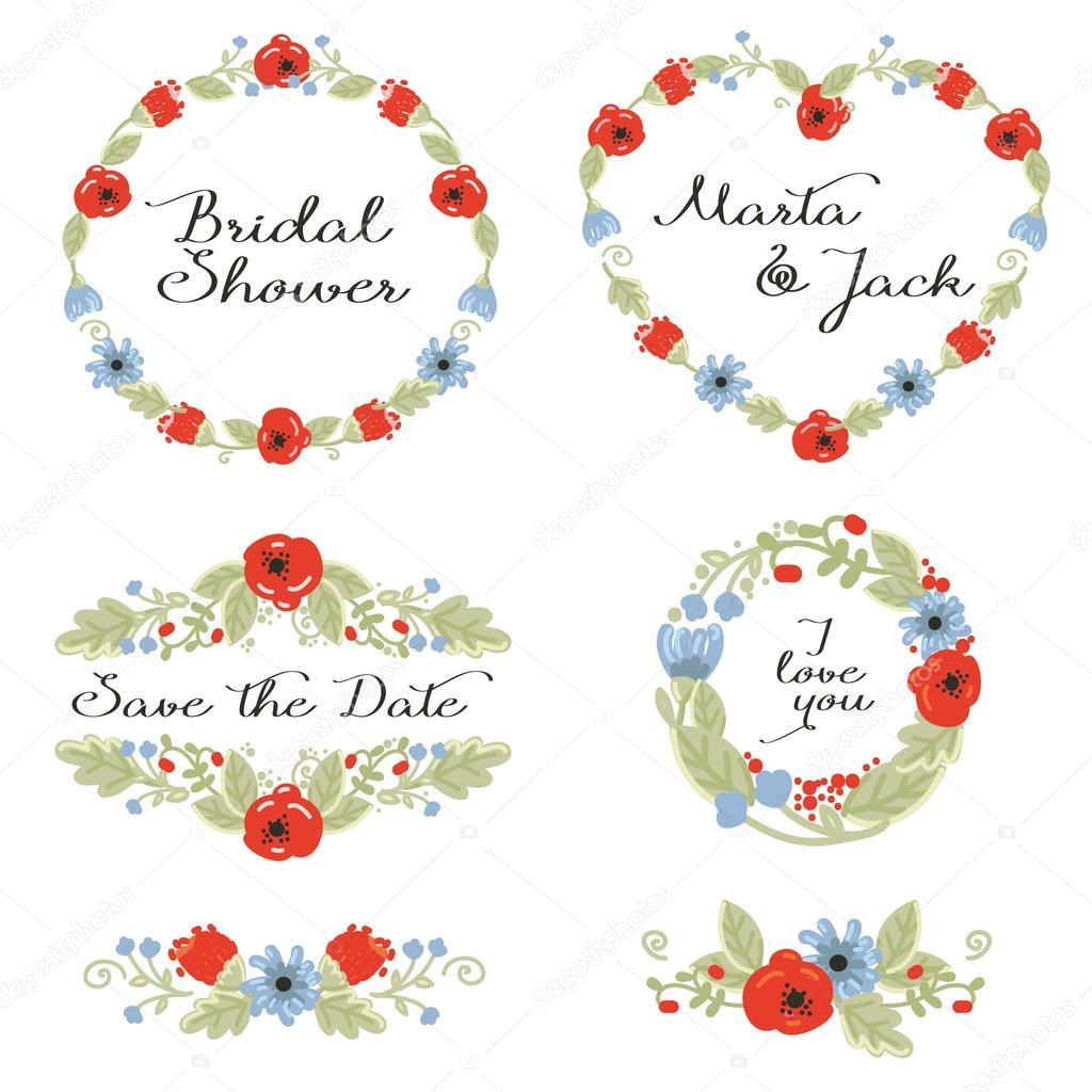 Hochzeit-Grafiken: Frames, Kranz und Blumen — Stockvektor ...