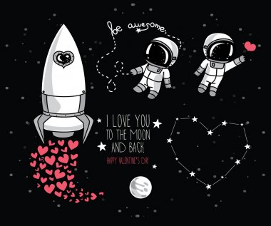 Cute hand drawn elements for valentine's day design: moon, stars, astronauts floating in space and rocket