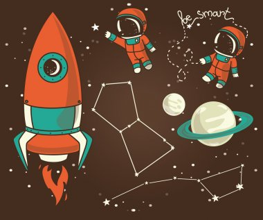 Cute hand drawn elements for cosmic design: planets, constellations, astronauts floating in space and rocket