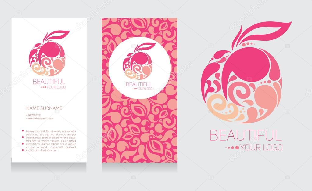 Business card template and abstract icon, beautiful fruit design